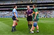 9 September 2018; Referee Alan Doheny with team captains Emer Keenan of Dublin and Jackie Horgan of Kerry before the Liberty Insurance All-Ireland Premier Junior Camogie Championship Final match between Dublin and Kerry at Croke Park in Dublin. Photo by Piaras Ó Mídheach/Sportsfile