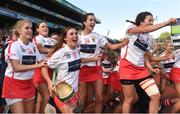 9 September 2018; Cork players, from left, Eimear Hurley, Keeva McCarthy, Caroline Sugrue, Keelagh Cullinane, and Maeve McCarthy, celebrate after the Liberty Insurance All-Ireland Intermediate Camogie Championship Final match between Cork and Down at Croke Park in Dublin. Photo by Piaras Ó Mídheach/Sportsfile