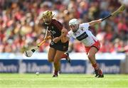 9 September 2018; Aimee McAleenan of Down in action against Lauren Callanan of Cork during the Liberty Insurance All-Ireland Intermediate Camogie Championship Final match between Cork and Down at Croke Park in Dublin. Photo by Piaras Ó Mídheach/Sportsfile