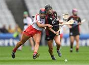 9 September 2018; Saoirse Sands of Down in action against Niamh Ní Chaoimh of Cork during the Liberty Insurance All-Ireland Intermediate Camogie Championship Final match between Cork and Down at Croke Park in Dublin. Photo by Piaras Ó Mídheach/Sportsfile