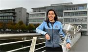 25 September 2018; Dublin Footballer Paul Mannion and Ladies footballer Lyndsey Davey, along with the Sam Maguire and Brendan Martin Cups, were at AIG Insurance's head office in Dublin today to mark Dublin's All-Ireland wins. AIG's chosen charity for 2018, Aoibheann's Pink Tie, also joined in the celebrations and were presented with a signed Dublin GAA jersey. In attendance at the AIG Cups visit is Dublin Ladies footballer Lyndsey Davey with the Brendan Martin Cup at AIG Offices in Dublin. Photo by Sam Barnes/Sportsfile