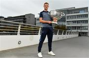 25 September 2018; Dublin Footballer Paul Mannion and Ladies footballer Lyndsey Davey, along with the Sam Maguire and Brendan Martin Cups, were at AIG Insurance's head office in Dublin today to mark Dublin's All-Ireland wins. AIG's chosen charity for 2018, Aoibheann's Pink Tie, also joined in the celebrations and were presented with a signed Dublin GAA jersey. In attendance at the AIG Cups visit is Dublin footballer Paul Mannion with the Sam Maguire Cup at AIG Offices in Dublin. Photo by Sam Barnes/Sportsfile