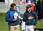 25 September 2018; Actor Jamie Dornan of Europe, left, and singer Niall Horan of Europe during the Celebrity Matches prior to the Ryder Cup 2018 Matches at Le Golf National in Paris, France. Photo by Ramsey Cardy/Sportsfile
