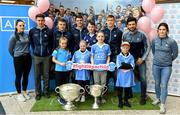 25 September 2018; Dublin Footballer Paul Mannion and Ladies footballer Lyndsey Davey were at AIG Insurance's head office in Dublin today to mark their All-Ireland wins. AIG's chosen charity for 2018, Aoibheann's Pink Tie, also joined in the celebrations and were presented with a signed Dublin GAA jersey. In attendance at the AIG Cups visit are, Dublin footballers, backrow from left, Emma McDonagh, Davy Byrne, Eoin Murchan, Brian Howard, Con O'Callaghan, Cian O'Sullivan and Niamh Collins, with, front row, from left, Abbie Colfer, age 9, Kerri Behan, age 10, Senan O'Connor, age 13, Dylan Kavanagh, age 10 and Mark Lee, age 6,  at AIG Offices in Dublin. Photo by Sam Barnes/Sportsfile
