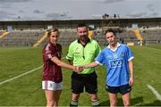 25 August 2018; Referee Séamus Mulvihill with team captains Tracey Leonard of Galway and Niamh McEvoy of Dublin before the TG4 All-Ireland Ladies Football Senior Championship Semi-Final match between Dublin and Galway at Dr Hyde Park in Roscommon. Photo by Piaras Ó Mídheach/Sportsfile