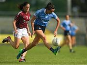 25 August 2018; Niamh McEvoy of Dublin in action against Emer Flaherty of Galway the TG4 All-Ireland Ladies Football Senior Championship Semi-Final match between Dublin and Galway at Dr Hyde Park in Roscommon. Photo by Piaras Ó Mídheach/Sportsfile