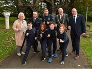 25 September 2018; Minister of State for Tourism and Sport Brendan Griffin T.D, centre, is joined by, from left, President of Athletics Ireland Georgina Drumm, CEO of Sport Ireland John Treacy, Lord Mayor of Dublin Nial Ring and CEO Athletics Ireland Hamish Adams, with pupils of Scoil Muire Gan Smal, from left, Adam Cooney, age 10, Stephanie Omozusi, age 10, Rosamund McGreevy, age 11, and Louis Wright, age 11, during the The Daily Mile Media Day at Scoil Muire Gan Smal in Inchicore, Dublin. Photo by Seb Daly/Sportsfile