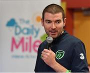 25 September 2018; Minister of State for Tourism and Sport Brendan Griffin T.D, speaking during the The Daily Mile Media Day at Scoil Muire Gan Smal in Inchicore, Dublin. Photo by Seb Daly/Sportsfile