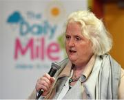 25 September 2018; President of Athletics Georgina Drumm Ireland speaking during the The Daily Mile Media Day at Scoil Muire Gan Smal in Inchicore, Dublin. Photo by Seb Daly/Sportsfile