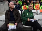 25 September 2018; Republic of Ireland & Celtic Legends manager Martin O'Neill, right, and his assistant John Hartson prior to the Liam Miller Memorial match between Manchester United Legends and Republic of Ireland & Celtic Legends at Páirc Uí Chaoimh in Cork. Photo by Stephen McCarthy/Sportsfile