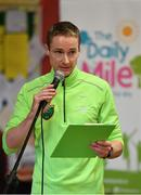 25 September 2018; 2013 Dublin Marathon winner and teacher at Scoil Muire Gan Smal Sean Hehir speaking during the The Daily Mile Media Day at Scoil Muire Gan Smal in Inchicore, Dublin. Photo by Seb Daly/Sportsfile