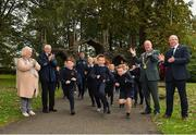 25 September 2018; Puplis of Scoil Muire Gan Smal are cheered on by, from left, President of Athletics Ireland Georgina Drumm, CEO of Sport Ireland John Treacy, Lord Mayor of Dublin Nial Ring and CEO Athletics Ireland Hamish Adams during the The Daily Mile Media Day at Scoil Muire Gan Smal in Inchicore, Dublin. Photo by Seb Daly/Sportsfile