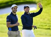 25 September 2018; Singer Niall Horan, right, with actor Jamie Dornan of Europe during the Celebrity Matches prior to the Ryder Cup 2018 Matches at Le Golf National in Paris, France. Photo by Ramsey Cardy/Sportsfile