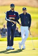 25 September 2018; Former swimmer Michael Phelps of USA and singer Niall Horan on the 5th green during the Celebrity Matches prior to the Ryder Cup 2018 Matches at Le Golf National in Paris, France. Photo by Ramsey Cardy/Sportsfile
