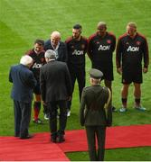 25 September 2018; President of Ireland Michael D. Higgins meets Roy Keane prior to the Liam Miller Memorial match between Manchester United Legends and Republic of Ireland & Celtic Legends at Páirc Uí Chaoimh in Cork. Photo by David Fitzgerald/Sportsfile