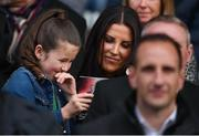 25 September 2018; Clare Miller, wife of the late Liam Miller, with her daughter Belle during the Liam Miller Memorial match between Manchester United Legends and Republic of Ireland & Celtic Legends at Páirc Uí Chaoimh in Cork. Photo by Stephen McCarthy/Sportsfile