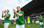 25 September 2018; Damien Duff, right, and Stephen Kelly of Republic of Ireland & Celtic legends applaud the support following the Liam Miller Memorial match between Manchester United Legends and Republic of Ireland & Celtic Legends at Páirc Uí Chaoimh in Cork. Photo by David Fitzgerald/Sportsfile