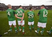 25 September 2018; Republic of Ireland & Celtic Legends players, from left, Kenny Cunnigham, Stephen Kelly, Shaun Maloney and Ian Harte during the Liam Miller Memorial match between Manchester United Legends and Republic of Ireland & Celtic Legends at Páirc Uí Chaoimh in Cork. Photo by Stephen McCarthy/Sportsfile