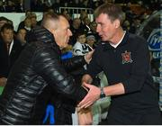 25 September 2018; Derry City manager Kenny Shiels, left, and Dundalk manager Stephen Kenny shake hands prior to the SSE Airtricity League Premier Division match between Dundalk and Derry City at Oriel Park in Dundalk, Co Louth. Photo by Seb Daly/Sportsfile