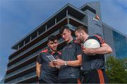 26 September 2018; PwC GAA/GPA Players of the All-Ireland Finals in football, Jack McCaffrey of Dublin, and hurler, Kyle Hayes of Limerick, were on hand to help launch the new PwC All Stars App and pick up their respective awards. Aaron Gillane was also in attendance to receive his hurling award for August. The players were joined by Uachtarán Chumann Lúthcleas Gael, John Horan, Enda Mc Donagh, Partner and Head of Assurance, PwC Ireland, and GPA National Executive Committee member, Colin Moran. The event took place at PwC on Spencer Dock in Dublin. Picured are, from left, Limerick hurlers Aaron Gillane and Kyles Hayes with Dublin footballer Jack McCaffrey using the new PwC All Stars App. Photo by Piaras Ó Mídheach/Sportsfile