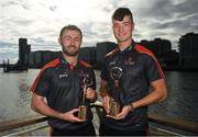 26 September 2018; PwC GAA/GPA Players of the All-Ireland Finals in football, Jack McCaffrey of Dublin, and hurler, Kyle Hayes of Limerick, were on hand to help launch the new PwC All Stars App and pick up their respective awards. Aaron Gillane was also in attendance to receive his hurling award for August. The players were joined by Uachtarán Chumann Lúthcleas Gael, John Horan, Enda Mc Donagh, Partner and Head of Assurance, PwC Ireland, and GPA National Executive Committee member, Colin Moran. The event took place at PwC on Spencer Dock in Dublin. Picured are Dublin footballer Jack MCaffrey, left, Limerick hurler Kyle Hayes. Photo by Piaras Ó Mídheach/Sportsfile