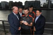 26 September 2018; PwC GAA/GPA Players of the All-Ireland Finals in football, Jack McCaffrey of Dublin, and hurler, Kyle Hayes of Limerick, were on hand to help launch the new PwC All Stars App and pick up their respective awards. Aaron Gillane was also in attendance to receive his hurling award for August. Pictured are from left, Uachtarán Chumann Lúthcleas Gael, John Horan, GPA National Executive Committee member, Colin Moran, Dublin footballer Jack McCaffrey, Limerick hurler Kyle Hayes, and Enda Mc Donagh, Partner and Head of Assurance, PwC Ireland. The event took place at PwC on Spencer Dock in Dublin. Photo by Piaras Ó Mídheach/Sportsfile