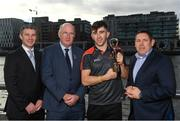 26 September 2018; PwC GAA/GPA Players of the All-Ireland Finals in football, Jack McCaffrey of Dublin, and hurler, Kyle Hayes of Limerick, were on hand to help launch the new PwC All Stars App and pick up their respective awards. Aaron Gillane was also in attendance to receive his hurling award for August. Pictured are, from left, GPA National Executive Committee member Colin Moran, Uachtarán Chumann Lúthcleas Gael John Horan, Limerick hurler Aaron Gillane and Enda Mc Donagh, Partner and Head of Assurance, PwC Ireland. The event took place at PwC on Spencer Dock in Dublin. Photo by Piaras Ó Mídheach/Sportsfile