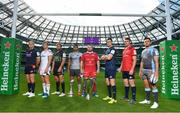 26 September 2018; In attendance during the 2018/19 Heineken Champions Cup and Challenge Cup launch are, from left, Luke Hamilton of Edinburgh, Jordi Murphy of Ulster, Callum Gibbins of Glasgow Warriors, Jarrad Butler of Connacht, Ken Owens of Scarlets, Jonathan Sexton of Leinster, Peter O'Mahony of Munster and Ellis Jenkins of Cardiff Blues at the Aviva Stadium in Dublin. Photo by Sam Barnes/Sportsfile