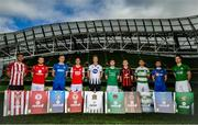 26 September 2018; SSE Airtricity League players, from left, Gavin Peers of Derry City FC, David Cawley of Sligo Rovers, Killian Brouder of Limerick, Ian Bermingham of St Patrick's Athletic, Daniel Cleary of Dundalk, Colm Horgan of Cork City, Darragh Leahy of Bohemians, Lee Grace of Shamrock Rovers, Derek Daly of Waterford FC and Hughie Douglas of Bray Wanderers at the launch of the FIFA 19 SSE Airtricity League Club Packs, in the Aviva Stadium, available from https://www.easports.com/uk/fifa/club-packs when the game launches this Friday 28th September! Featuring the individual club crest of all 10 Premier Division teams, €1 will be donated to the Liam Miller fund for every free sleeve download from Friday 28th September – Friday 5th October. Photo by Stephen McCarthy/Sportsfile