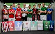 26 September 2018; SSE Airtricity League players, from left, Gavin Peers of Derry City FC, David Cawley of Sligo Rovers, Killian Brouder of Limerick, Ian Bermingham of St Patrick's Athletic, Daniel Cleary of Dundalk, Colm Horgan of Cork City, Darragh Leahy of Bohemians, Lee Grace of Shamrock Rovers, Hughie Douglas of Bray Wanderers and Derek Daly of Waterford FC at the launch of the FIFA 19 SSE Airtricity League Club Packs, in the Aviva Stadium, available from https://www.easports.com/uk/fifa/club-packs when the game launches this Friday 28th September! Featuring the individual club crest of all 10 Premier Division teams, €1 will be donated to the Liam Miller fund for every free sleeve download from Friday 28th September – Friday 5th October. Photo by Stephen McCarthy/Sportsfile