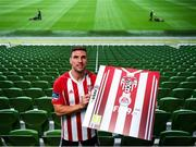 26 September 2018; Gavin Peers of Derry City FC at the launch of the FIFA 19 SSE Airtricity League Club Packs, in the Aviva Stadium, available from https://www.easports.com/uk/fifa/club-packs when the game launches this Friday 28th September! Featuring the individual club crest of all 10 Premier Division teams, €1 will be donated to the Liam Miller fund for every free sleeve download from Friday 28th September – Friday 5th October. Photo by Stephen McCarthy/Sportsfile