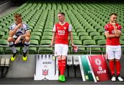 26 September 2018; SSE Airtricity League players, from left, Daniel Cleary of Dundalk, Ian Bermingham of St Patrick's Athletic and David Cawley of Sligo Rovers at the launch of the FIFA 19 SSE Airtricity League Club Packs, in the Aviva Stadium, available from https://www.easports.com/uk/fifa/club-packs when the game launches this Friday 28th September! Featuring the individual club crest of all 10 Premier Division teams, €1 will be donated to the Liam Miller fund for every free sleeve download from Friday 28th September – Friday 5th October. Photo by Stephen McCarthy/Sportsfile