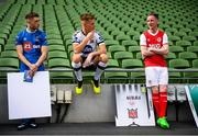 26 September 2018; SSE Airtricity League players, from left, Derek Daly of Waterford FC, Daniel Cleary of Dundalk and Ian Bermingham of St Patrick's Athletic at the launch of the FIFA 19 SSE Airtricity League Club Packs, in the Aviva Stadium, available from https://www.easports.com/uk/fifa/club-packs when the game launches this Friday 28th September! Featuring the individual club crest of all 10 Premier Division teams, €1 will be donated to the Liam Miller fund for every free sleeve download from Friday 28th September – Friday 5th October. Photo by Stephen McCarthy/Sportsfile