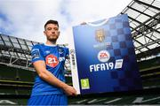 26 September 2018; Derek Daly of Waterford FC at the launch of the FIFA 19 SSE Airtricity League Club Packs, in the Aviva Stadium, available from https://www.easports.com/uk/fifa/club-packs when the game launches this Friday 28th September! Featuring the individual club crest of all 10 Premier Division teams, €1 will be donated to the Liam Miller fund for every free sleeve download from Friday 28th September – Friday 5th October. Photo by Stephen McCarthy/Sportsfile
