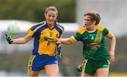 25 August 2018; Jenny Higgins of Roscommon in action against Shauna Ennis of Meath during the TG4 All-Ireland Ladies Football Intermediate Championship Semi-Final match between Meath and Roscommon at Dr Hyde Park in Roscommon. Photo by Piaras Ó Mídheach/Sportsfile