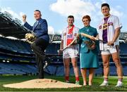 27 September 2018; The Fenway Hurling Classic 2018 will see All-Ireland hurling champions Limerick, reigning holders of the Players' Champions Cup Clare, and new contenders Cork and Wexford competing in the Super 11s format tournament. The tournament takes place on Sunday November 18th, at the iconic Fenway Park, home of the Boston Red Sox. Aer Lingus will once again be Official Airline of the event, and will be flying the four teams out to Boston. Pictured are, from left, Frank Wynne, Aer Lingus Cabin Service Manager, Patrick Horgan of Cork, Aer Lingus Cabin Crew Member Roisin Mahon, and Lee Chin of Wexford during the Fenway Hurling Classic 2018 Launch at Croke Park in Dublin. Photo by Seb Daly/Sportsfile