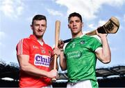 27 September 2018; The Fenway Hurling Classic 2018 will see All-Ireland hurling champions Limerick, reigning holders of the Players' Champions Cup Clare, and new contenders Cork and Wexford competing in the Super 11s format tournament. The tournament takes place on Sunday November 18th, at the iconic Fenway Park, home of the Boston Red Sox. Pictured are Patrick Horgan of Cork and Seán Finn of Limerick during the Fenway Hurling Classic 2018 Launch at Croke Park in Dublin. Photo by Seb Daly/Sportsfile