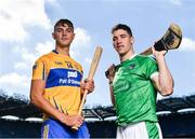 27 September 2018; The Fenway Hurling Classic 2018 will see All-Ireland hurling champions Limerick, reigning holders of the Players' Champions Cup Clare, and new contenders Cork and Wexford competing in the Super 11s format tournament. The tournament takes place on Sunday November 18th, at the iconic Fenway Park, home of the Boston Red Sox. Pictured are Peter Duggan of Clare and Seán Finn of Limerick during the Fenway Hurling Classic 2018 Launch at Croke Park, in Dublin. Photo by Seb Daly/Sportsfle