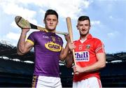 27 September 2018; The Fenway Hurling Classic 2018 will see All-Ireland hurling champions Limerick, reigning holders of the Players' Champions Cup Clare, and new contenders Cork and Wexford competing in the Super 11s format tournament. The tournament takes place on Sunday November 18th, at the iconic Fenway Park, home of the Boston Red Sox. Pictured are Lee Chin of Wexford and Patrick Horgan of Cork during the Fenway Hurling Classic 2018 Launch at Croke Park in Dublin. Photo by Seb Daly/Sportsfile
