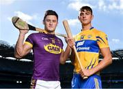 27 September 2018; The Fenway Hurling Classic 2018 will see All-Ireland hurling champions Limerick, reigning holders of the Players' Champions Cup Clare, and new contenders Cork and Wexford competing in the Super 11s format tournament. The tournament takes place on Sunday November 18th, at the iconic Fenway Park, home of the Boston Red Sox. Pictured are Lee Chin of Wexford and Peter Duggan of Clare during the Fenway Hurling Classic 2018 Launch at Croke Park in Dublin. Photo by Seb Daly/Sportsfile