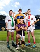 27 September 2018; The Fenway Hurling Classic 2018 will see All-Ireland hurling champions Limerick, reigning holders of the Players' Champions Cup Clare, and new contenders Cork and Wexford competing in the Super 11s format tournament. The tournament takes place on Sunday November 18th, at the iconic Fenway Park, home of the Boston Red Sox. Pictured are, from left, Seán Finn of Limerick, Lee Chin of Wexford, Patrick Horgan of Cork and Peter Duggan of Clare during the Fenway Hurling Classic 2018 Launch at Croke Park in Dublin. Photo by Seb Daly/Sportsfile