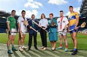 27 September 2018; The Fenway Hurling Classic 2018 will see All-Ireland hurling champions Limerick, reigning holders of the Players' Champions Cup Clare, and new contenders Cork and Wexford competing in the Super 11s format tournament. The tournament takes place on Sunday November 18th, at the iconic Fenway Park, home of the Boston Red Sox. Aer Lingus will once again be Official Airline of the event, and will be flying the four teams out to Boston. Pictured are, from left, Seán Finn of Limerick, Lee Chin of Wexford, Frank Wynne, Aer Lingus Cabin Service Manager, Ruth Ranson, Director of Communications Aer Lingus, Roisin Mahon, Cabin Crew, Patrick Horgan of Cork, and Peter Duggan of Clare during the Fenway Hurling Classic 2018 Launch at Croke Park in Dublin. Photo by Seb Daly/Sportsfile