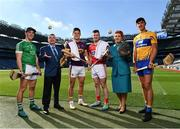 27 September 2018; The Fenway Hurling Classic 2018 will see All-Ireland hurling champions Limerick, reigning holders of the Players' Champions Cup Clare, and new contenders Cork and Wexford competing in the Super 11s format tournament. The tournament takes place on Sunday November 18th, at the iconic Fenway Park, home of the Boston Red Sox. Aer Lingus will once again be Official Airline of the event, and will be flying the four teams out to Boston. Pictured are, from left, Seán Finn of Limerick, Frank Wynne, Aer Lingus Cabin Service Manager, Lee Chin of Wexford, Patrick Horgan of Cork, Roisin Mahon, Aer Lingus Cabin Crew, and Peter Duggan of Clare during the Fenway Hurling Classic 2018 Launch at Croke Park in Dublin. Photo by Seb Daly/Sportsfile