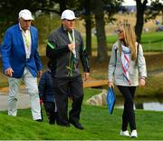 28 September 2018; Dermot Desmond, left, JP McManus and Erica McIlroy walk the course to follow Rory McIlroy and Thorbjørn Olesen of Europe during their Fourball Match against Dustin Johnson and Rickie Fowler of USA during the Ryder Cup 2018 Matches at Le Golf National in Paris, France. Photo by Ramsey Cardy/Sportsfile