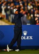 29 September 2018; Tiger Woods of USA takes his tee shot on the 2nd during his Fourball Match against Francesco Molinari and Tommy Fleetwood of Europe during the Ryder Cup 2018 Matches at Le Golf National in Paris, France. Photo by Ramsey Cardy/Sportsfile