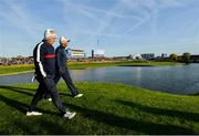 29 September 2018; Patrick Reed, left, and Tiger Woods of USA make their way to the 2nd green during their Fourball Match against Francesco Molinari and Tommy Fleetwood of Europe during the Ryder Cup 2018 Matches at Le Golf National in Paris, France. Photo by Ramsey Cardy/Sportsfile