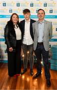 29 September 2018; Colm Moriarty of Annascaul, Kerry, with parents Trish and Paudie on their arrival at the 2018 Electric Ireland Minor Star Awards. The Hurling/Football Team of the Year was selected by an expert panel of GAA legends including Ollie Canning, Sean Cavanagh, Michael Fennelly and Daniel Goulding. Sponsors of the GAA Minor Championships, Electric Ireland today recognised the talent and dedication of 15 Minor football players, and 15 Minor hurling players at the second annual Electric Ireland Minor Star Awards at Croke Park. #GAAThisIsMajor Photo by Stephen McCarthy/Sportsfile