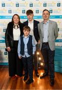 29 September 2018; Colm Moriarty of Annascaul, Kerry, with family Trish, Eoin, and Paudie, right, on their arrival at the 2018 Electric Ireland Minor Star Awards. The Hurling/Football Team of the Year was selected by an expert panel of GAA legends including Ollie Canning, Sean Cavanagh, Michael Fennelly and Daniel Goulding. Sponsors of the GAA Minor Championships, Electric Ireland today recognised the talent and dedication of 15 Minor football players, and 15 Minor hurling players at the second annual Electric Ireland Minor Star Awards at Croke Park. #GAAThisIsMajor Photo by Stephen McCarthy/Sportsfile