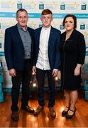 29 September 2018; Ronan Grimes of Killanny, Monaghan, with parents Colm and Audrey on their arrival at the 2018 Electric Ireland Minor Star Awards. The Hurling/Football Team of the Year was selected by an expert panel of GAA legends including Ollie Canning, Sean Cavanagh, Michael Fennelly and Daniel Goulding. Sponsors of the GAA Minor Championships, Electric Ireland today recognised the talent and dedication of 15 Minor football players, and 15 Minor hurling players at the second annual Electric Ireland Minor Star Awards at Croke Park. #GAAThisIsMajor Photo by Stephen McCarthy/Sportsfile