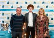 29 September 2018; Paul Walsh of Brosna, Kerry, with parents Paudie and Christine on their arrival at the 2018 Electric Ireland Minor Star Awards. The Hurling/Football Team of the Year was selected by an expert panel of GAA legends including Ollie Canning, Sean Cavanagh, Michael Fennelly and Daniel Goulding. Sponsors of the GAA Minor Championships, Electric Ireland today recognised the talent and dedication of 15 Minor football players, and 15 Minor hurling players at the second annual Electric Ireland Minor Star Awards at Croke Park. #GAAThisIsMajor Photo by Stephen McCarthy/Sportsfile